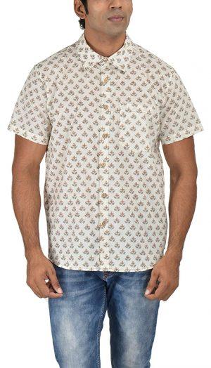 Holiday Shirt - Block Printed - Beige- Shirt