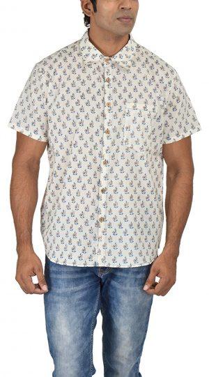 Holiday Shirt - Block Printed - Blue- Shirt