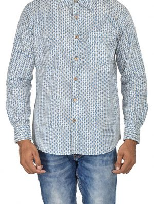Geo Prints - Block Printed - Blue- Shirt