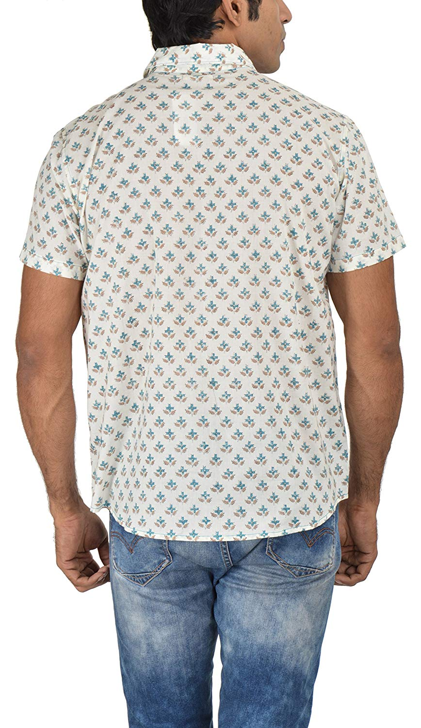 Holiday Shirt - Block Printed - Turquoise- Shirt