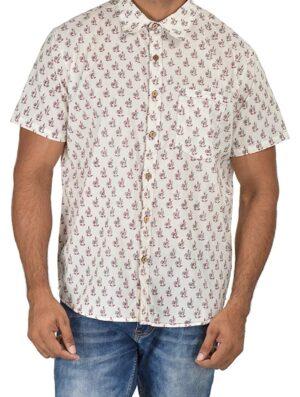 Holiday Shirt - Block Printed - Maroon- Shirt