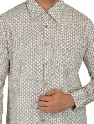 Geo Prints - Block Printed - Turquoise- Shirt