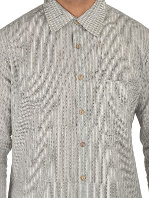 Geo Prints - Block Printed - Grey- Shirt