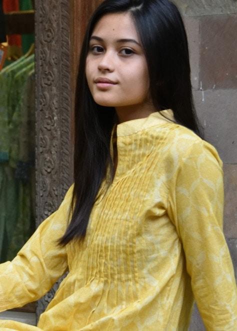 Dry Pastel - Block Printed - Yellow- Kurta