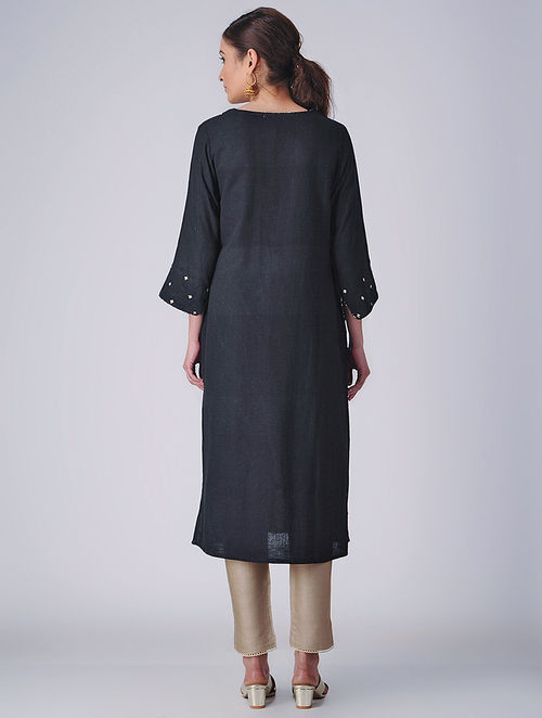 Delicate Embroideries- Block Printed - Black - Kurta
