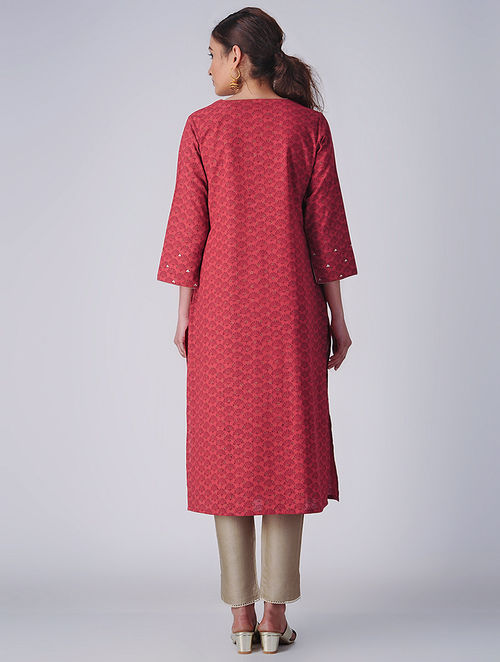 Delicate Embroideries- Block Printed - Red - Kurta