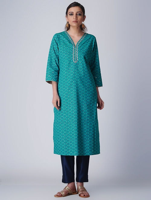 Delicate Embroideries- Block Printed - Turquoise - Kurta