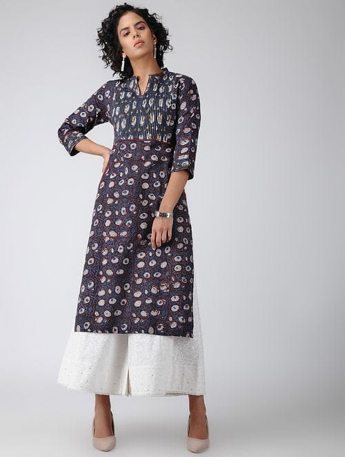 Dabu Diaries- Block Printed - Brown -Zari Yoke Kurta