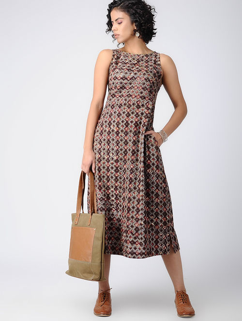 Dabu Diaries - Block Printed - Brown -Tile Dress