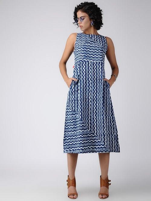 Dabu Diaries- Block Printed - Indigo Blue -Indigo Zig-Zag Dress
