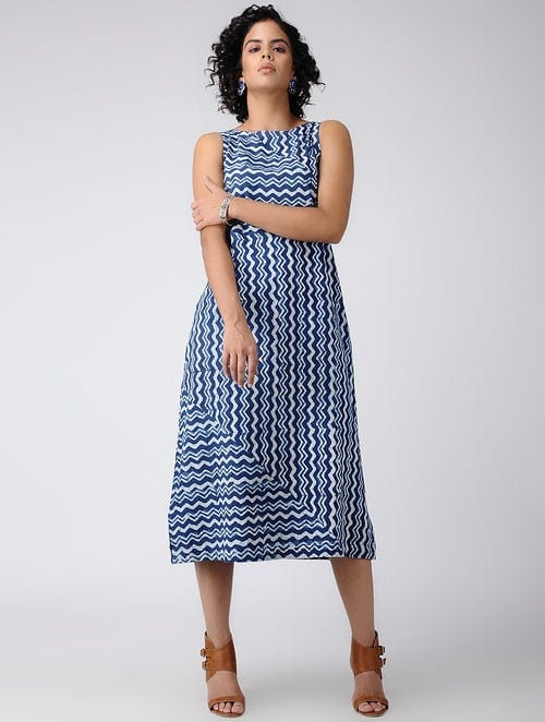 Dabu Diaries- Block Printed - Indigo Blue -Indigo Zig-Zag Dress