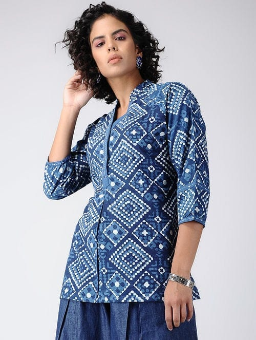 Dabu Diaries - Block Printed - Indigo Blue -Indigo Top
