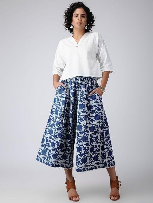 Dabu Diaries- Block Printed - Blue - Culotte Indigo Charm