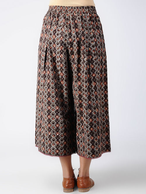 Dabu Diaries - Block Printed - Brown - Tile Culotte