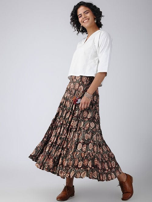 Dabu Diaries - Block Printed - Maroon - Maroon Tier Skirt
