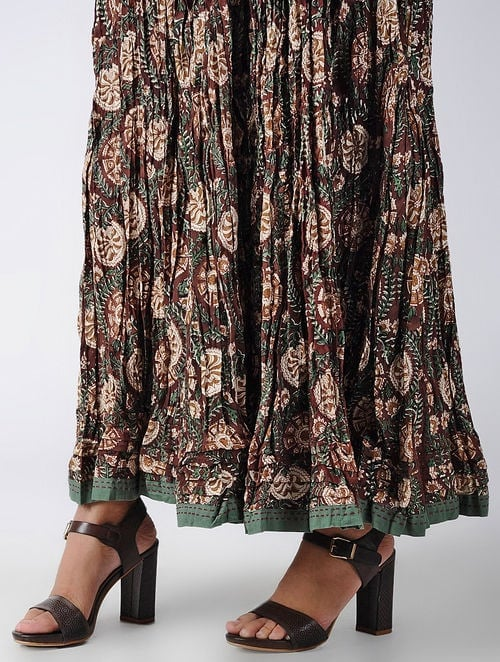 Dabu Diaries - Block Printed - Maroon - Maroon Panel Skirt