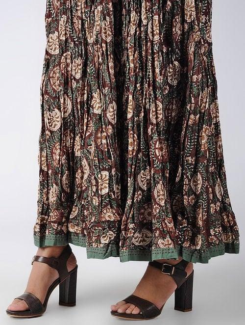 Dabu Diaries - Block Printed - Maroon - Maroon Panel Skirt