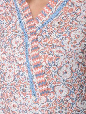 Print Charm - Block Printed - Coral- Angi Kurta