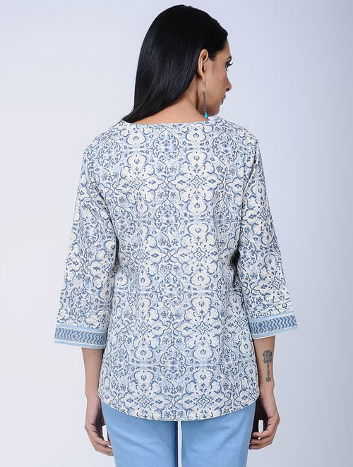 Print Charm - Block Printed -Blue -Magz Top