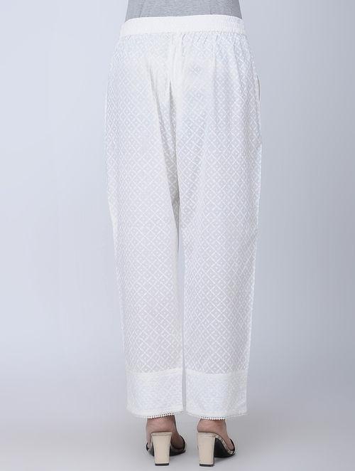 Print Charm - Block Printed - White- Pant
