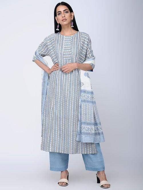 Print Charm - Block Printed - Blue -Sana Kurta