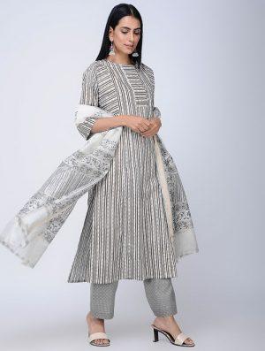 Print Charm - Block Printed - Grey -Sana Kurta