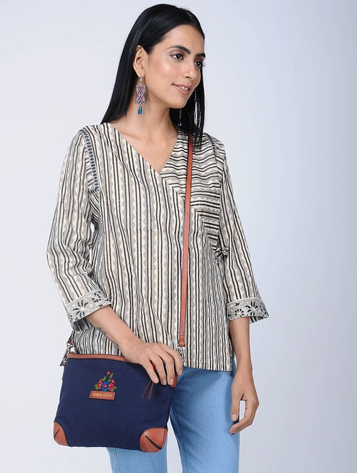 Print Charm - Block Printed - Grey- Kim Top