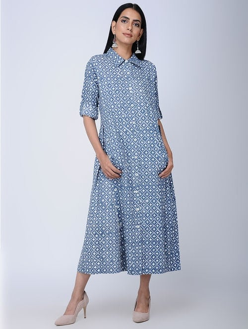 Print Charm - Block Printed - Blue -BlueVibes Jaal Tunic