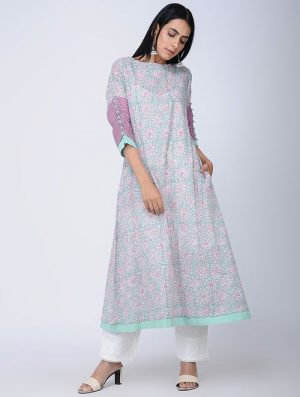 Print Charm - Block Printed - Turquoise -Daisy Button Sleeve Dress