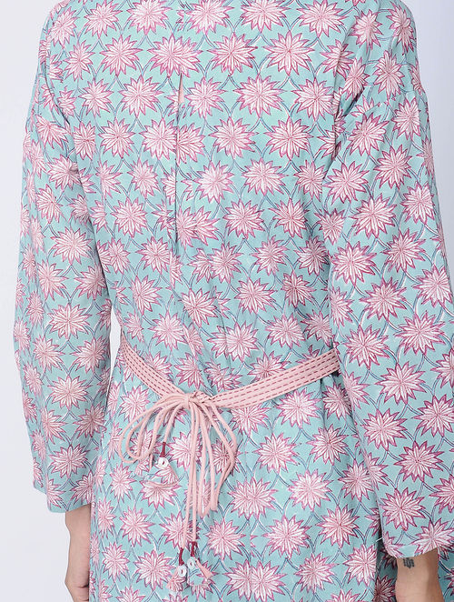 Print Charm - Block Printed - Turquoise -Front Border Printed Tunic