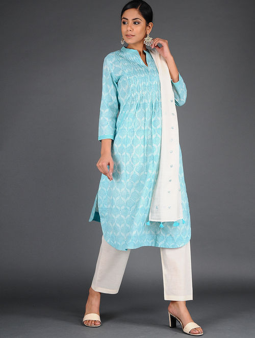 Dry Pastel - Block Printed - Powder Blue - Kurta