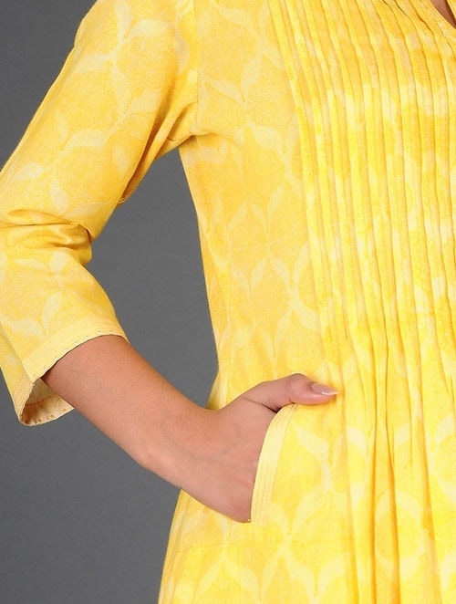 Dry Pastel - Block Printed - Yellow- Kurta
