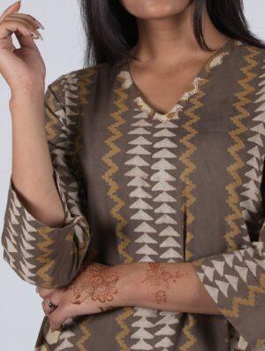 Mud Mustard - Handblock - Mustard- Kali Kurta