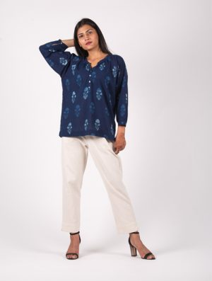 Neel - Handblock - Indigo - Gather Top