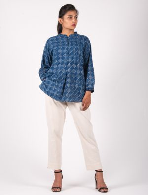 Neel - Handblock - Indigo - Pleat Top