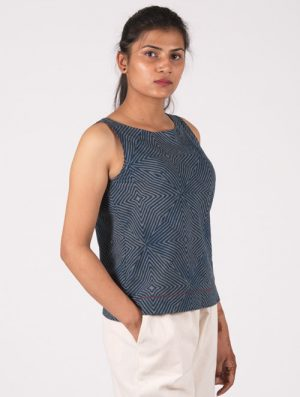 Neel - Handblock - Indigo - Sleeveless Crop Top