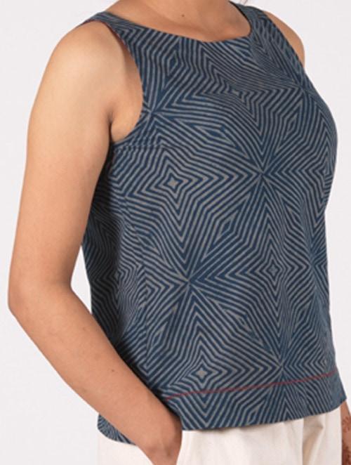 Neel - Handblock - Indigo - Sleeveless Crop Top