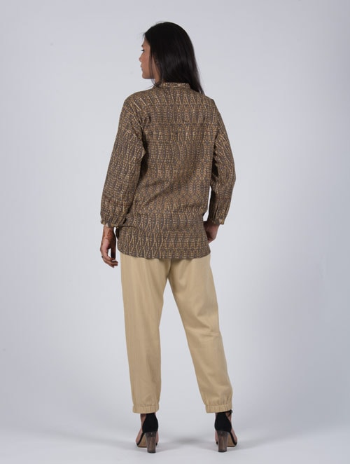 Mud Mustard- Handblock - Mustard- Pleat Top