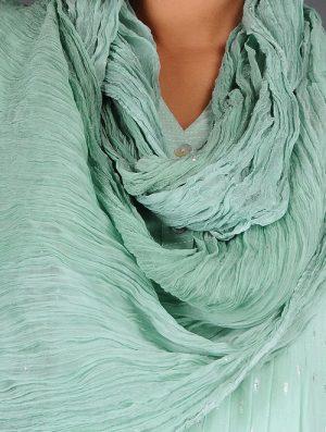 Glitter Shimmer - Dyed- Green- Chiffon Dupatta