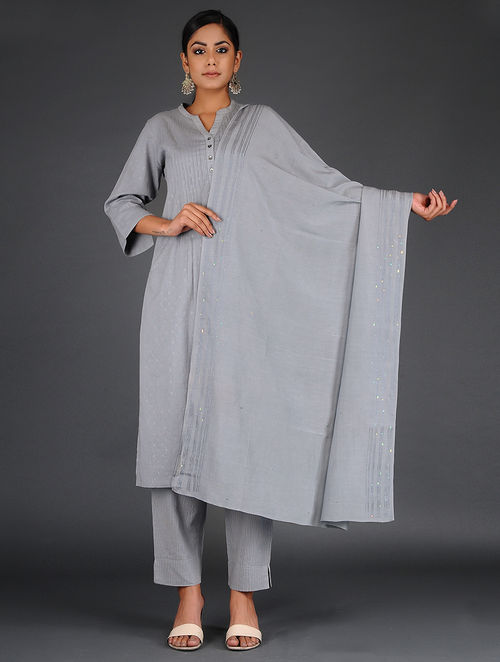 Glitter Shimmer - Embroidered- Grey- Cotton Silk Stole