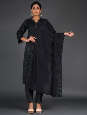 Glitter Shimmer - Embroidered- Black- Cotton Silk Stole