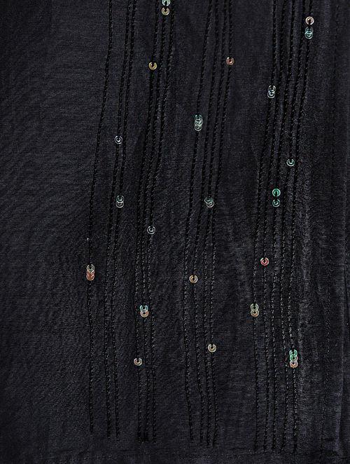 Glitter Shimmer - Embroidered- Black- Cotton Silk Stole