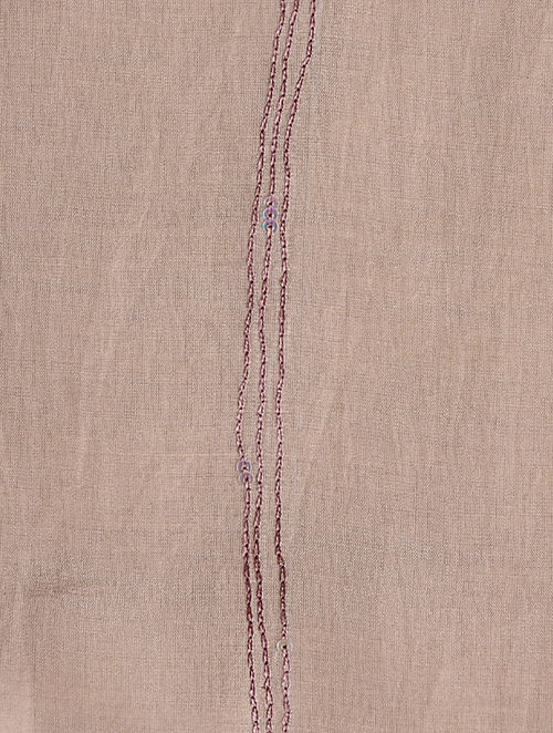 Glitter Shimmer - Embroidered- Brown- Cotton Silk Stole
