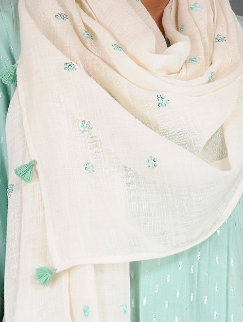 Dry Pastel - Embroidered- Green- Cotton Linen Stole