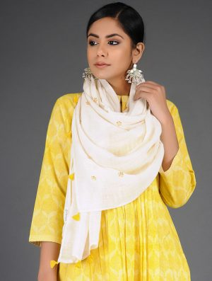 Dry Pastel - Embroidered- Yellow- Cotton Linen Stole