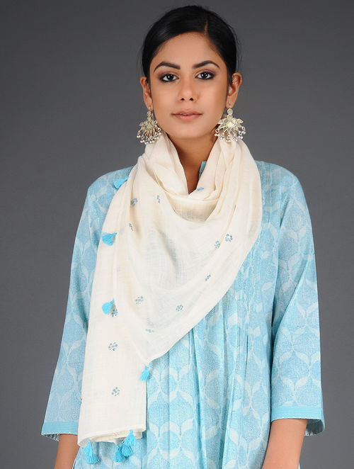 Dry Pastel - Embroidered- Blue- Cotton Linen Stole