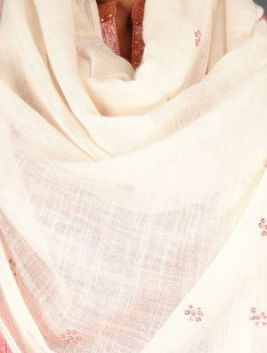 Dry Pastel - Embroidered- Coral- Cotton Linen Stole