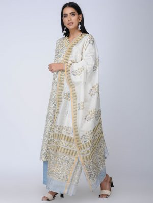 Print Charm - Block Printed - Yellow -Chanderi Dupatta