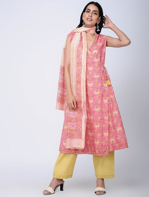Print Charm - Block Printed - Pink -Chanderi Dupatta