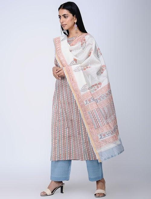 Print Charm - Block Printed - Coral -Cotton Dupatta